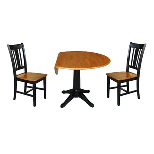 Peterkin Round Top 3 Piece Drop Leaf Solid Wood Dining Set