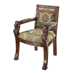 Beardsley Heraldic Lion Fabric Armchairs by Design Toscano