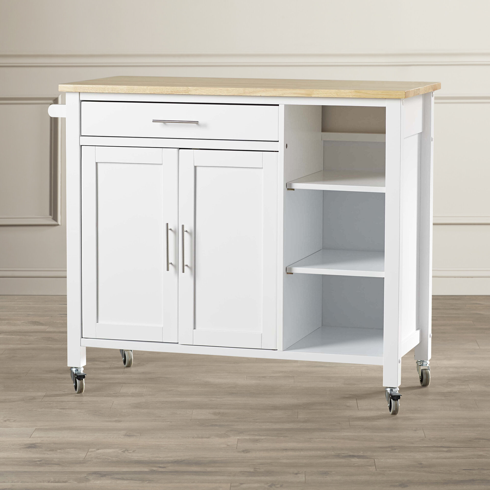 Alcott Hill Landau Kitchen Cart with Butcher Block Top & Reviews ...