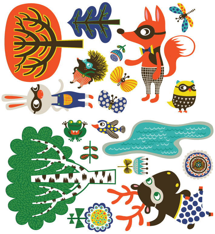 Oopsy Daisy Funky Woodland Creatures Peel And Place Wall