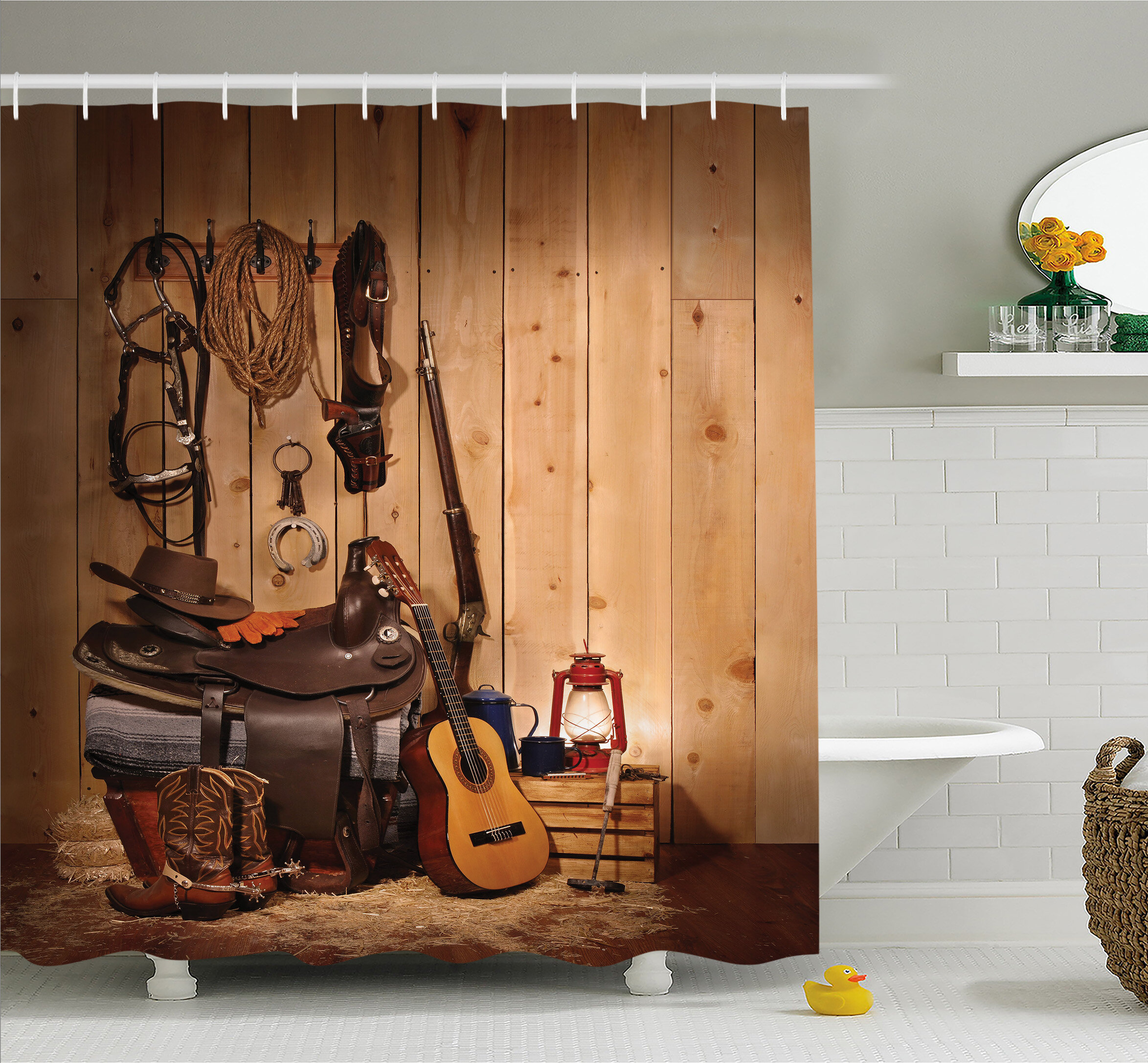 Ambesonne Western American Texas Style Country Music Guitar Cowboy Boots Folk Culture Shower Curtain Set Reviews