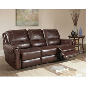Tusten Leather Reclining Sofa by Red Barrel ..