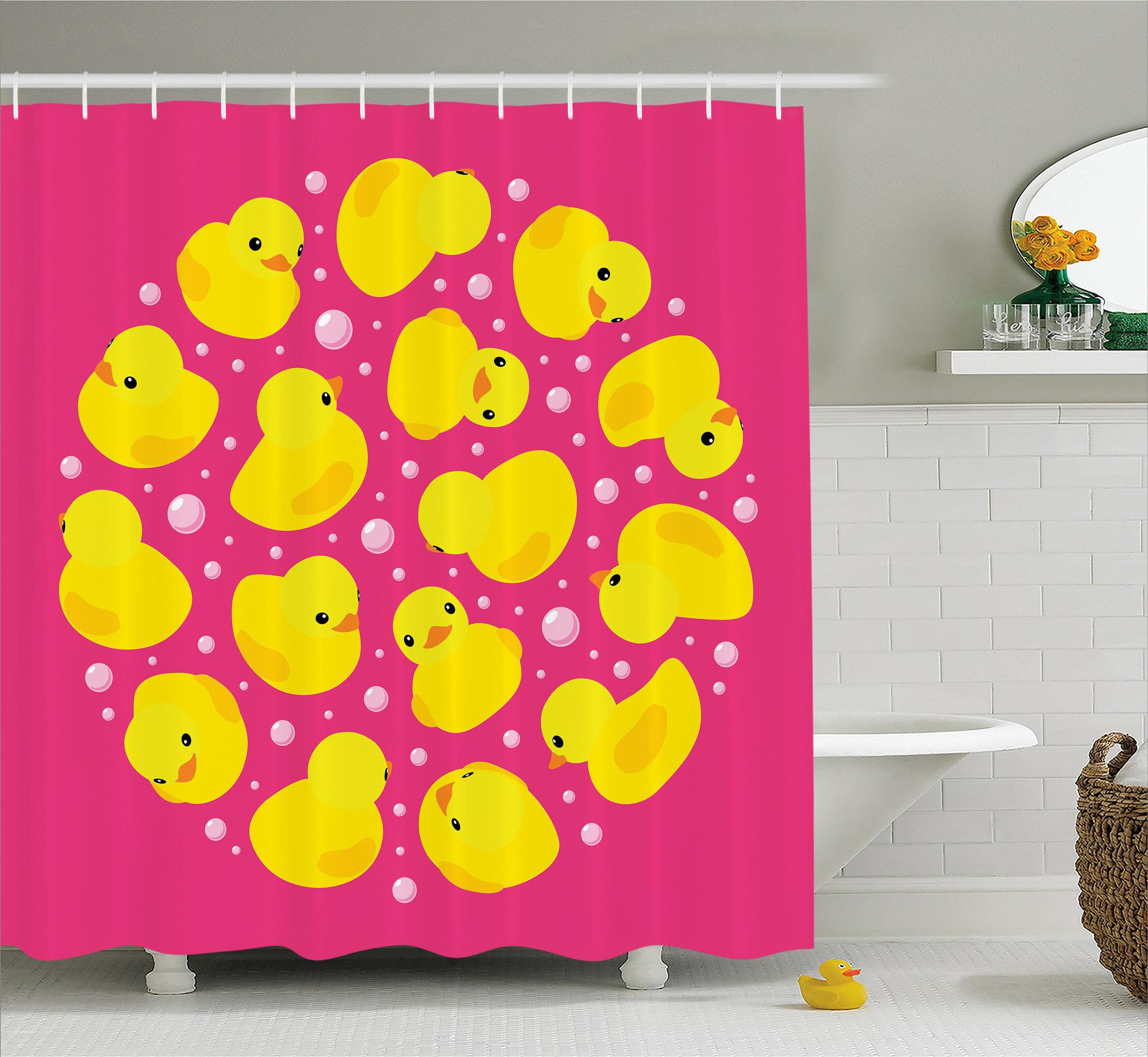 Zoomie Kids Stephen Duck Bubbles Hot Pink Shower Curtain | Wayfair