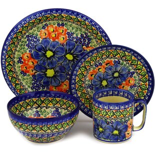 Polish Pottery 4 Piece Place Setting Service for 1  sc 1 st  Wayfair & Polish Pottery Dinnerware   Wayfair