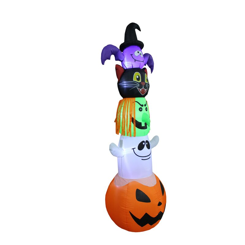 Inflatable Stacked Bat Black Cat Witch Ghost And Pumpkin