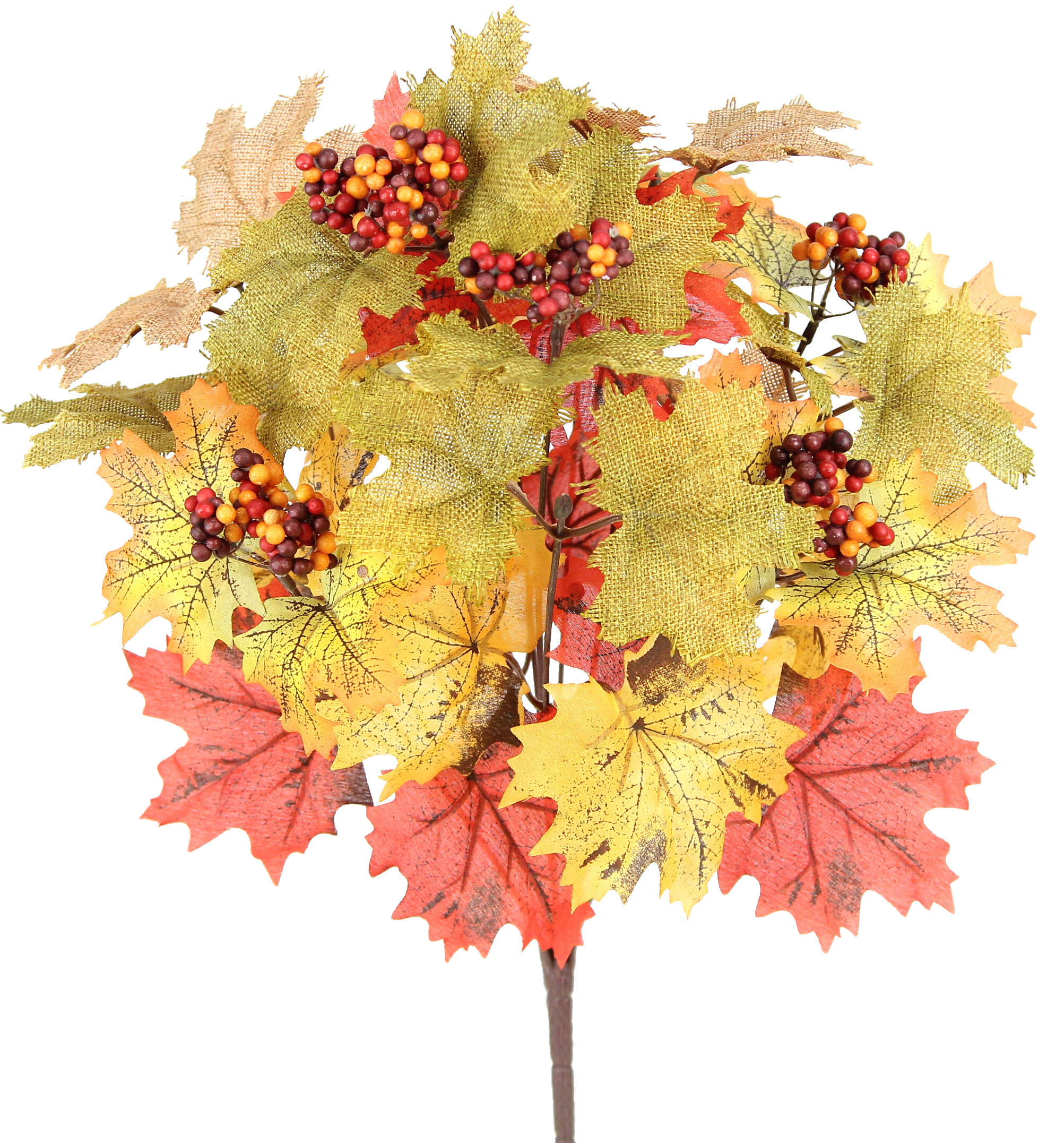 Admiredbynature 12 Stems Artificial Mix Burlap Maple Leaves With