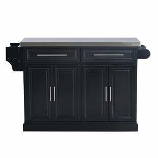 Emmitt Storage Cabinet Kitchen Island with Stainless Steel Top