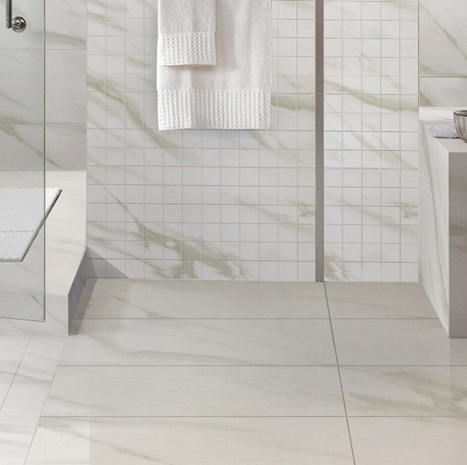 Multile Full Polished Glazed White Calacatta Porcelain Tile In Matt Finish 12 X24 Wayfair