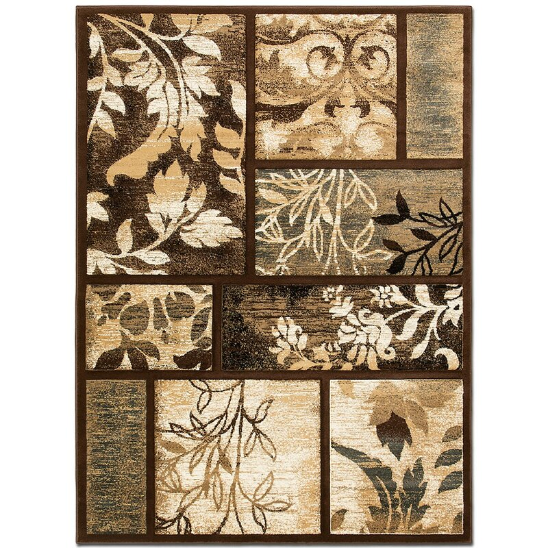 AllStar Rugs Floral Print Chocolate Area Rug, Size: Rectangle 79 x 105