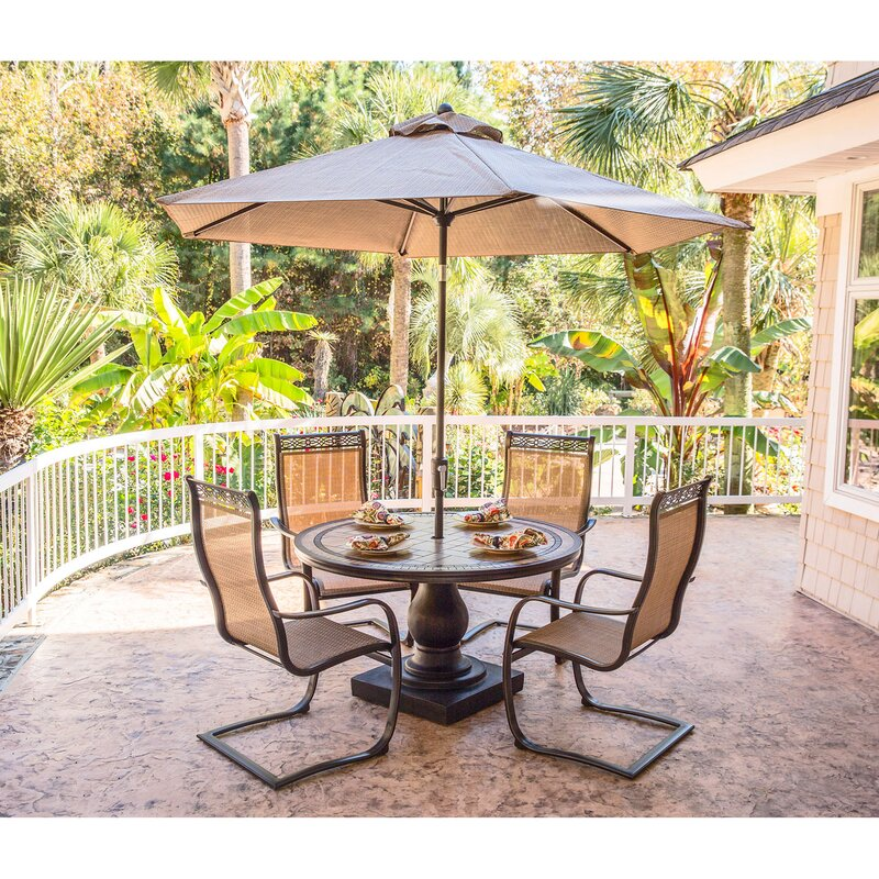 Bucci 5 Piece Outdoor Dinning Set With Table Umbrella