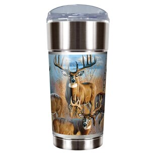 Whitetail Deer Traditions 24 oz. Stainless Steel Travel Tumbler  sc 1 st  Wayfair : whitetail deer dinnerware - pezcame.com