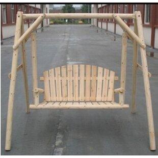 Lessman Outdoor Loveseat 2 Person Freestanding Log Garden Porch Swing
