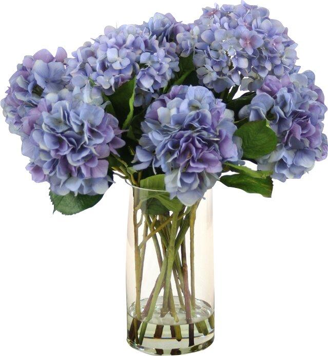 Waterlook Silk Hydrangeas In Glass Vase Reviews Joss Main