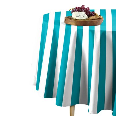"Rosdorf Park Sam Stripe Table Cloth  Size: 114"" L x 114"" W, Color: Turquoise"