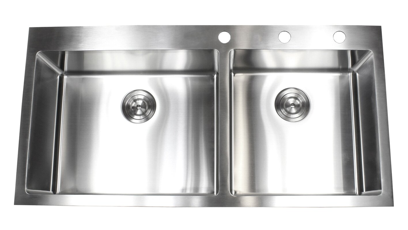 ariel 43   x 22   double basin drop in kitchen sink with bonus accessories emodern decor ariel 43   x 22   double basin drop in kitchen sink      rh   wayfair com