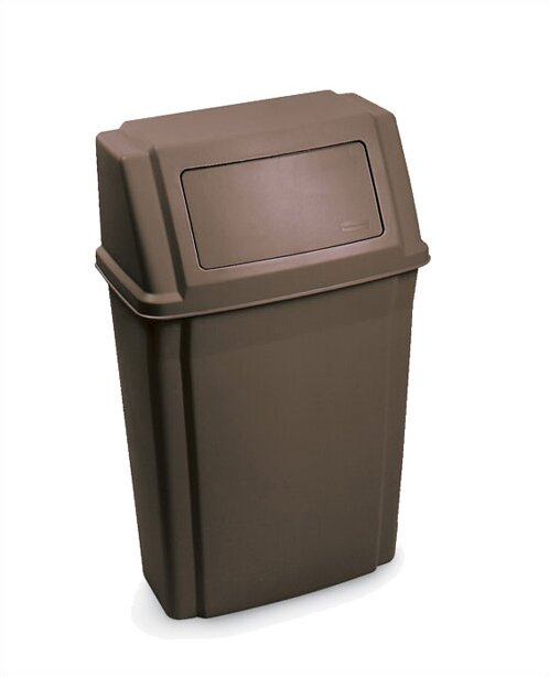 Rubbermaid Commercial Products Slim Jim Wall Mounted Container 15 Gallon Swing Top Trash Can