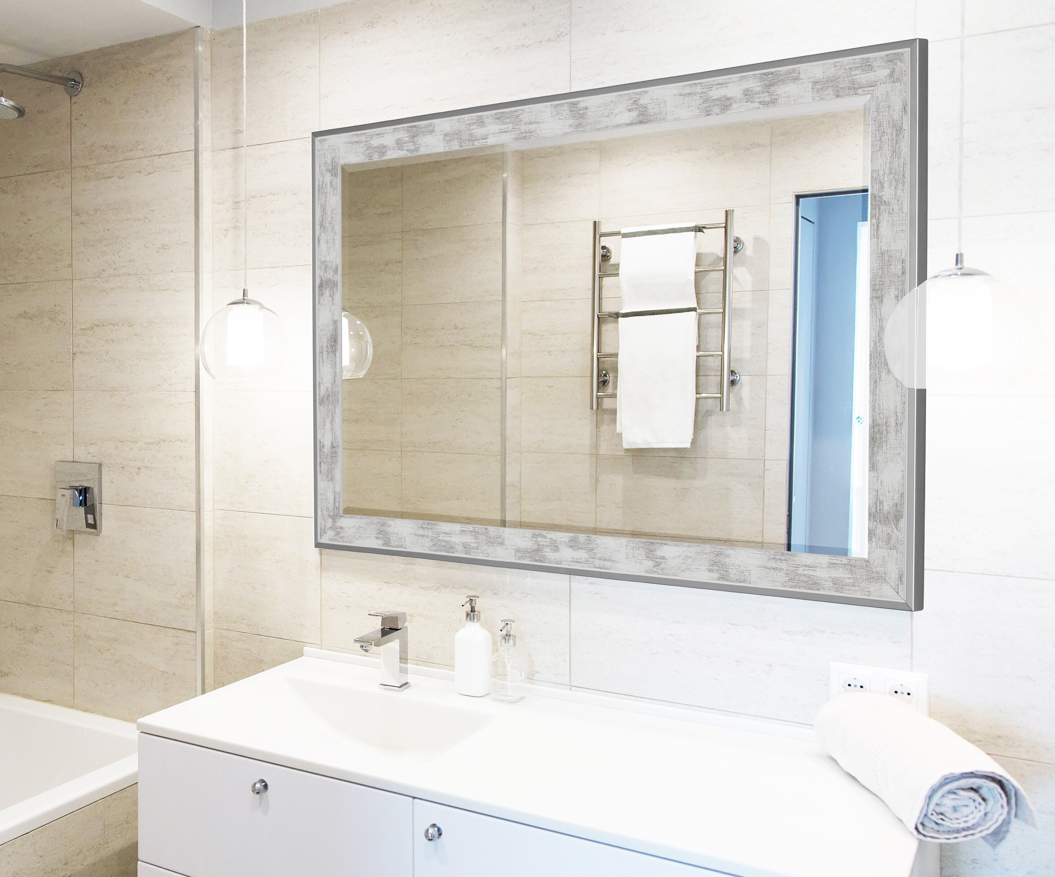 Wade Logan Scratched Wash White Trim Full Length Mirror & Reviews ...