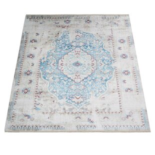 Inexpensive Mcmullan Oriental Aqua/White Area Rug By Bungalow Rose