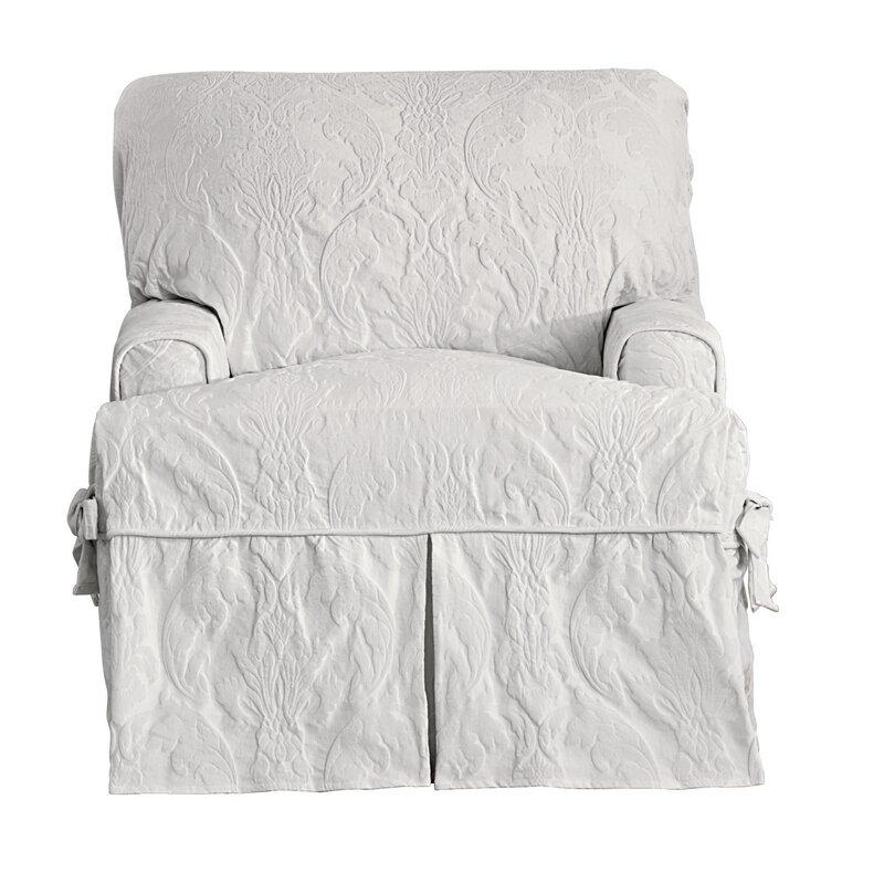 Matelasse Damask T Cushion Armchair Slipcover