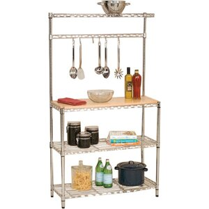 Wayfair Basics Baker's Rack Workstation with Rubberwood Top