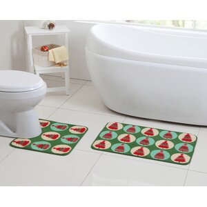 2 Piece Poinsettia Christmas Tree Green Bath Rug Set