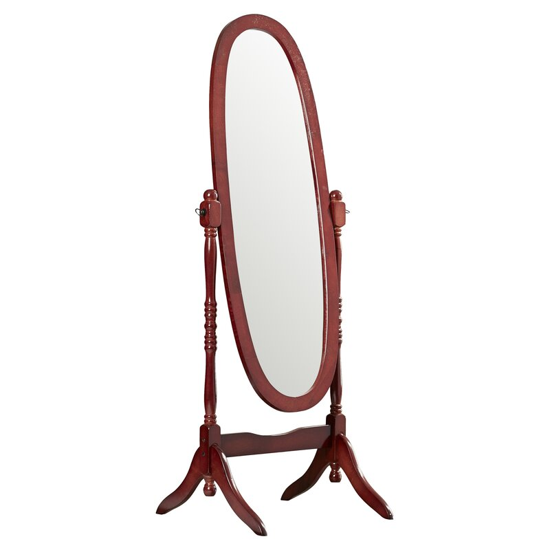 Oval oak floor mirror