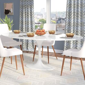 Larkson White Oval Marble Dining Table by Langley Street