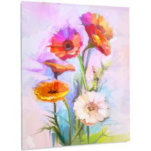 White flower painting wayfair bouquet of red white flowers painting print on metal mightylinksfo