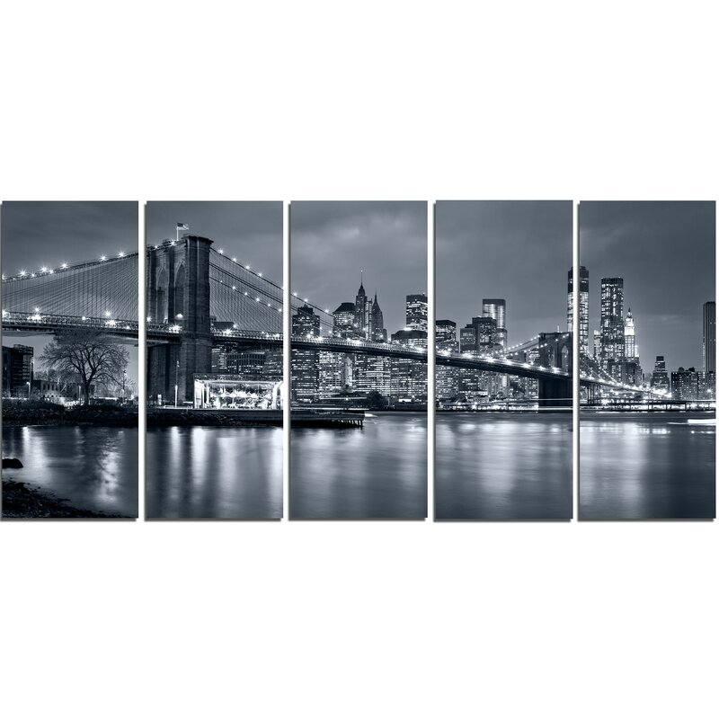 Panorama New York City at Night 5 Piece Wall Art on Wrapped Canvas Set  sc 1 st  Wayfair & DesignArt Panorama New York City at Night 5 Piece Wall Art on ...