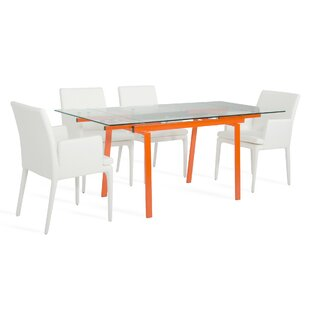 Lovely Clower Extendable Metal Base Dining Table
