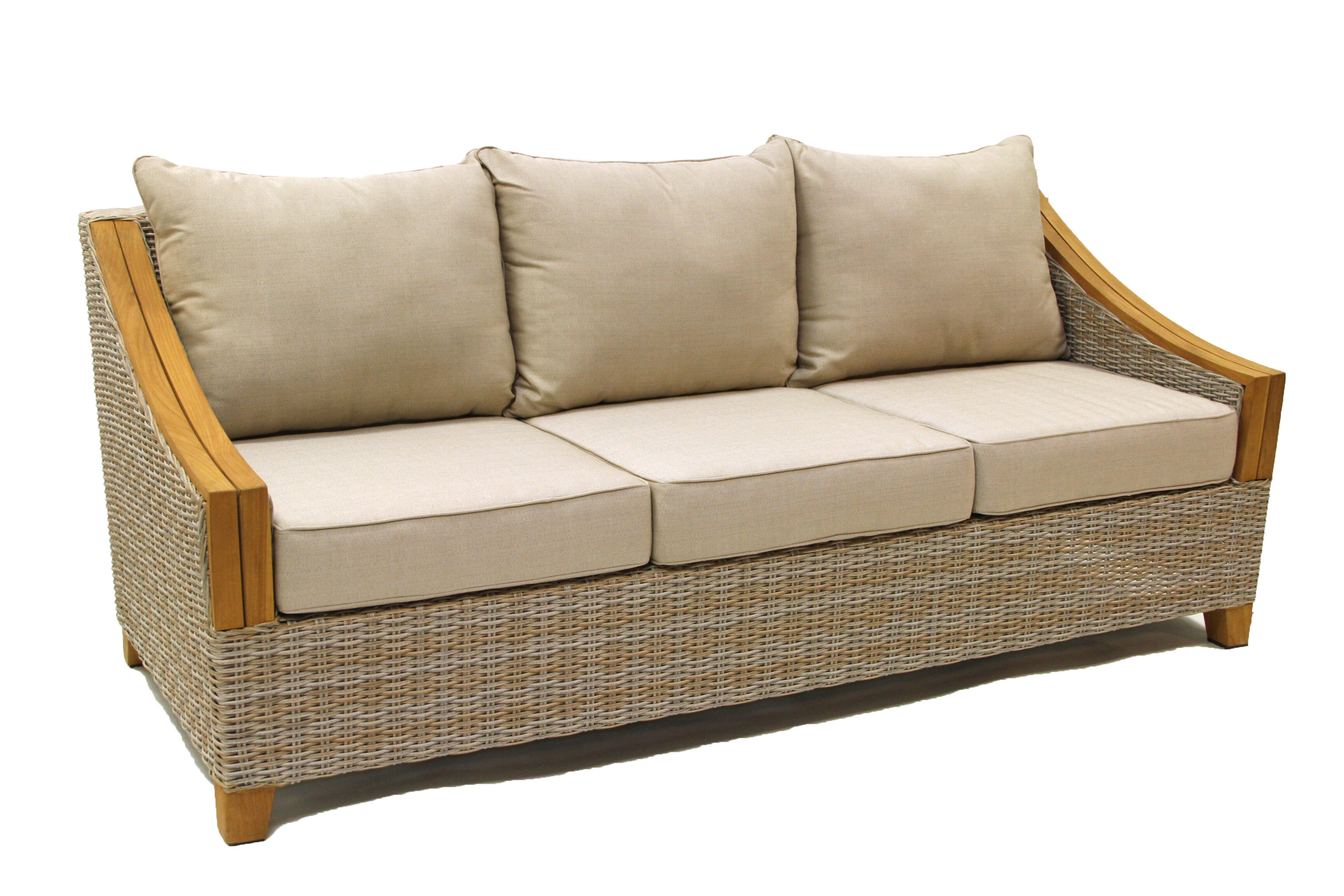 "Desmond 78"" Wicker & Teak Patio Sofa & Reviews"