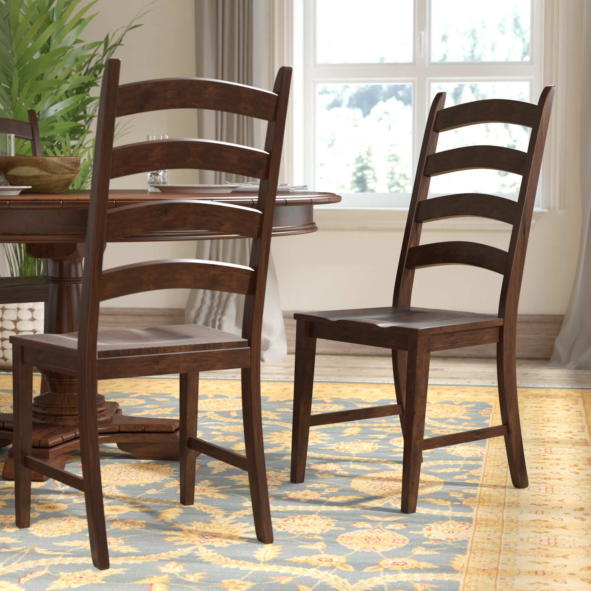 Charmant World Menagerie Birchley Ladderback Solid Wood Dining Chair U0026 Reviews |  Wayfair