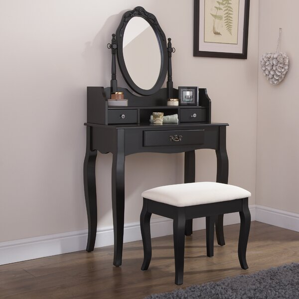 Lucy Mirrored Coffee Table: Lily Manor Lucy Dressing Table Set With Mirror & Reviews