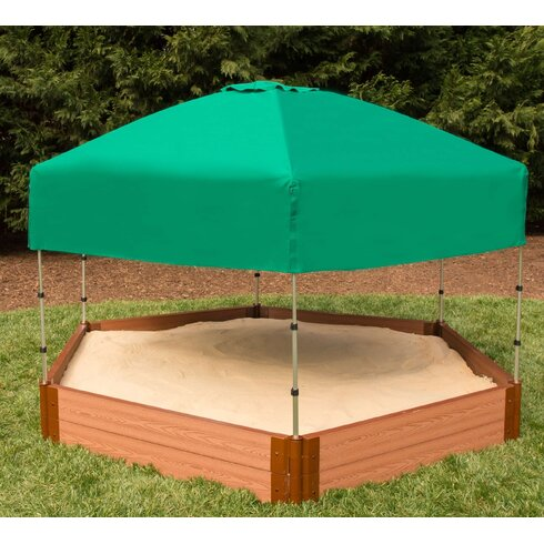 Frame It All Two Inch Series 8\' W Hexagon Sandbox with Canopy/Cover ...