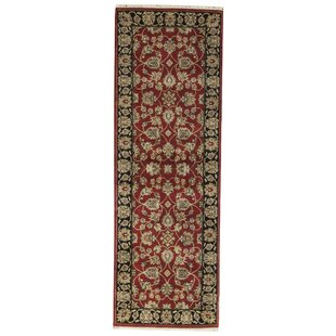 One Of A Kind Crown India Handwoven Runner 2 8 X 7 10 Wool Red Black Area Rug