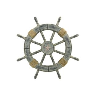 Maritime Wheels 36 Inch Nautical Ship Wheel With Brass Ring Wooden Decorative Convenient To Cook