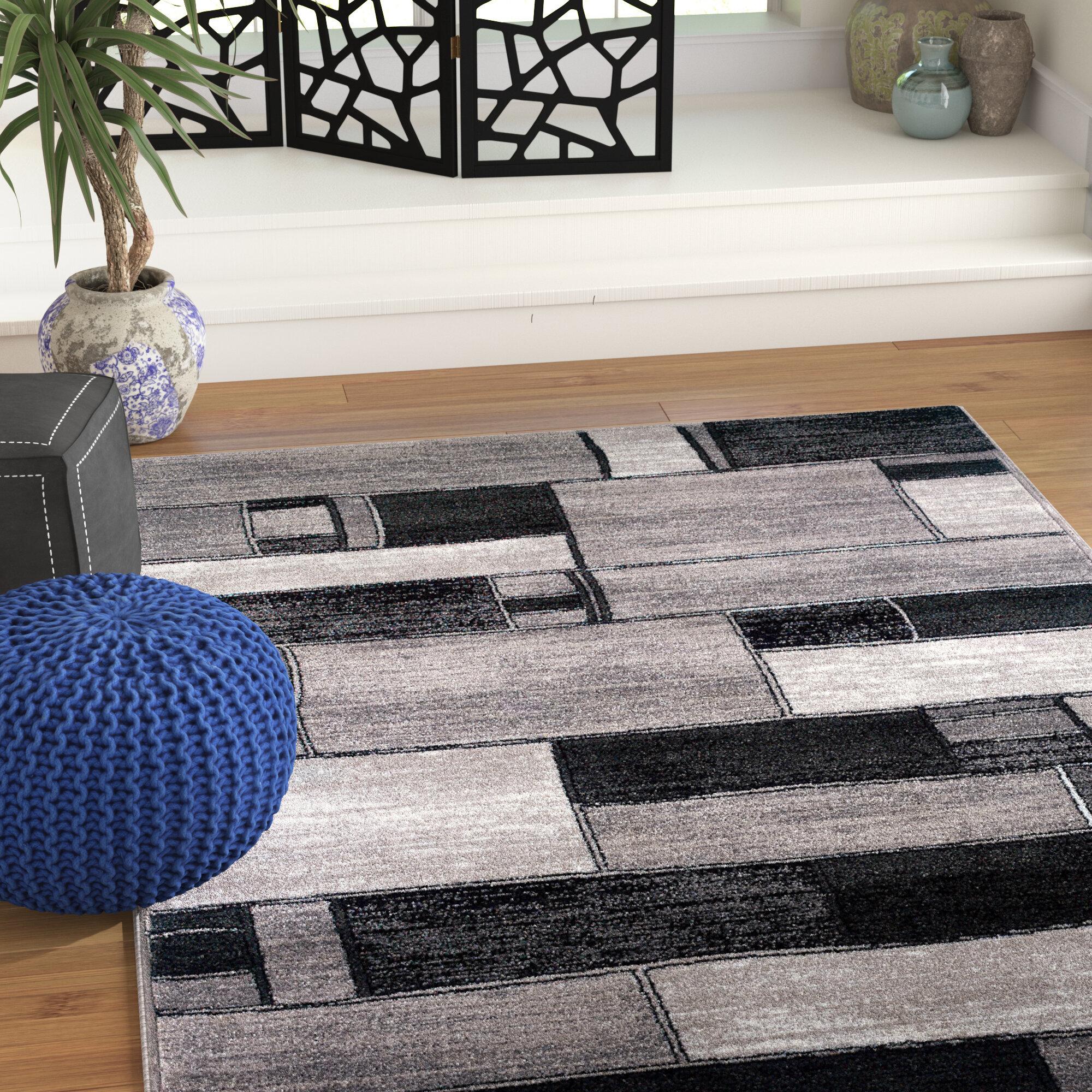 World Menagerie Poston Oblong Blocks Charcoal Gray Area Rug Reviews Wayfair