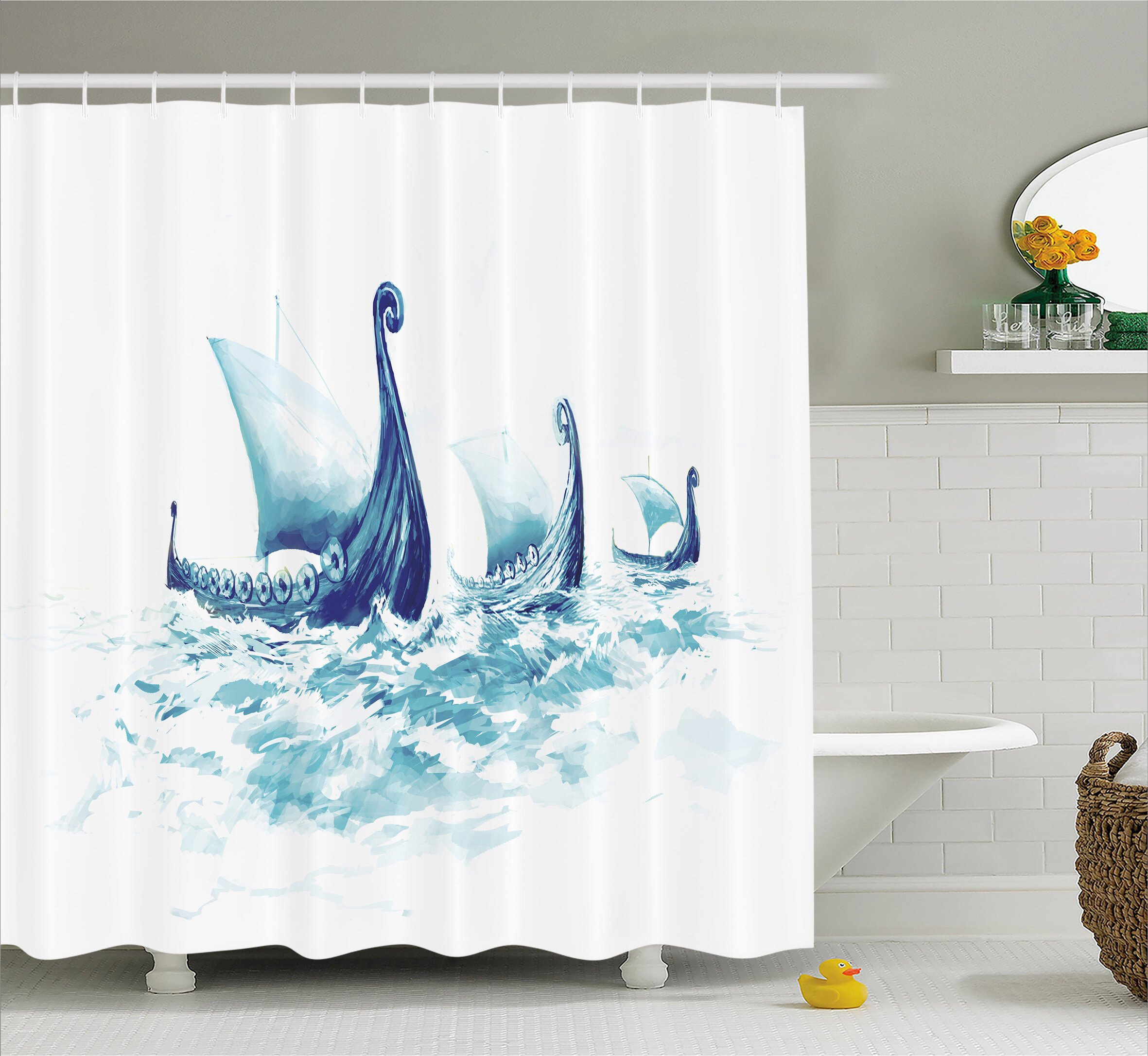 East Urban Home Viking Decor Ship Nordic Sea Shower Curtain