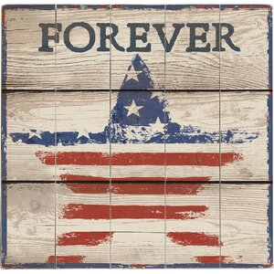 American Flag Graphic Art Print Multi-Piece Image on Wood