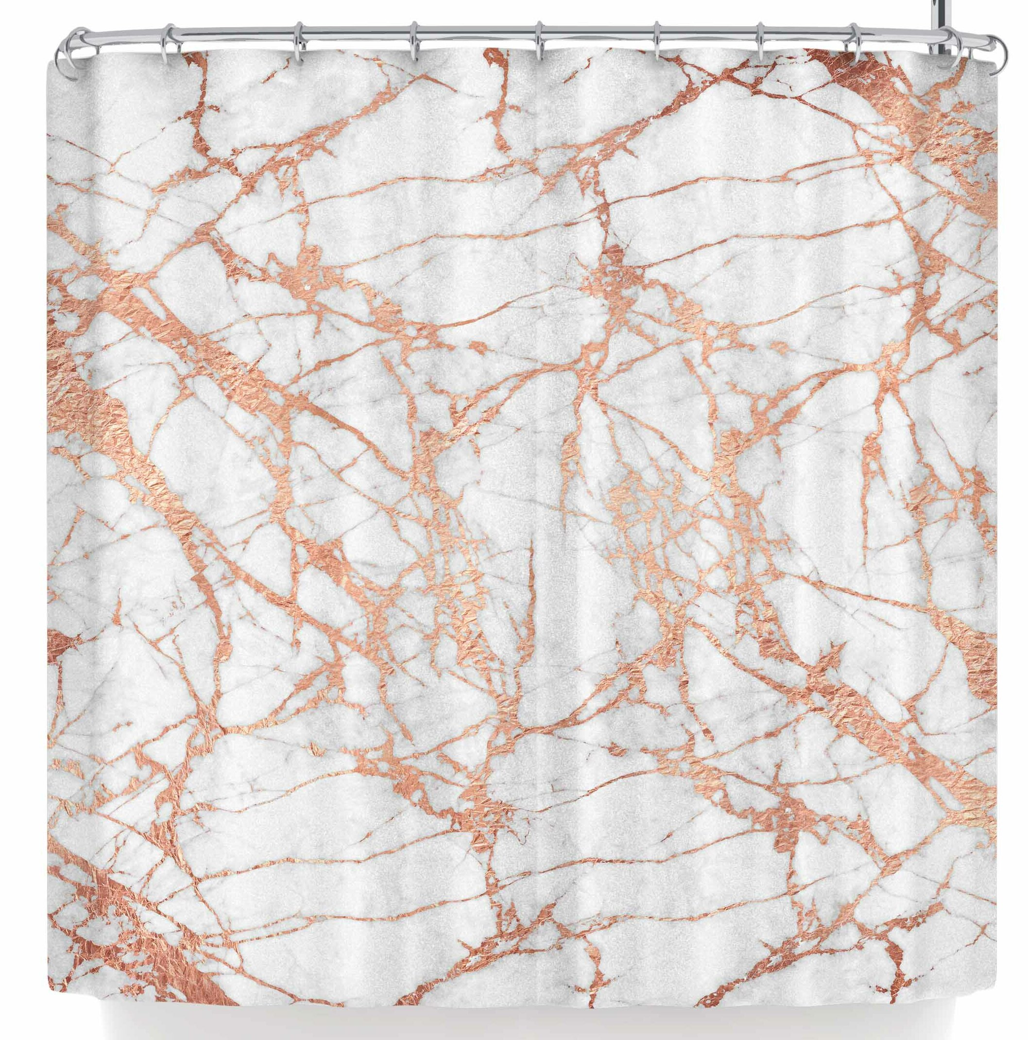 East Urban Home Draper Rose Gold Marble Shower Curtain