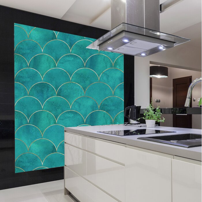 Goncalves Mermaid Fish Scale Wave 8 L X 24 W Peel And Stick Wallpaper Roll