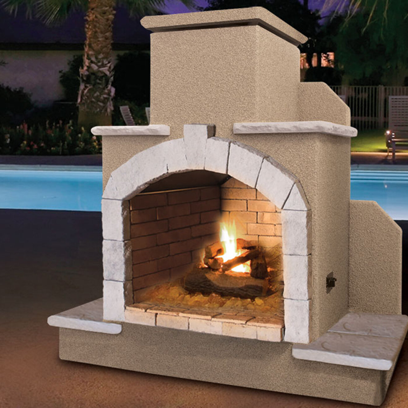 Cal Flame Steel Gas Outdoor Fireplace & Reviews | Wayfair on Quillen Steel Outdoor Fireplace id=99441