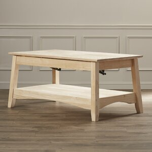 Unfinished Wood Bombay Coffee Table with Lift Top