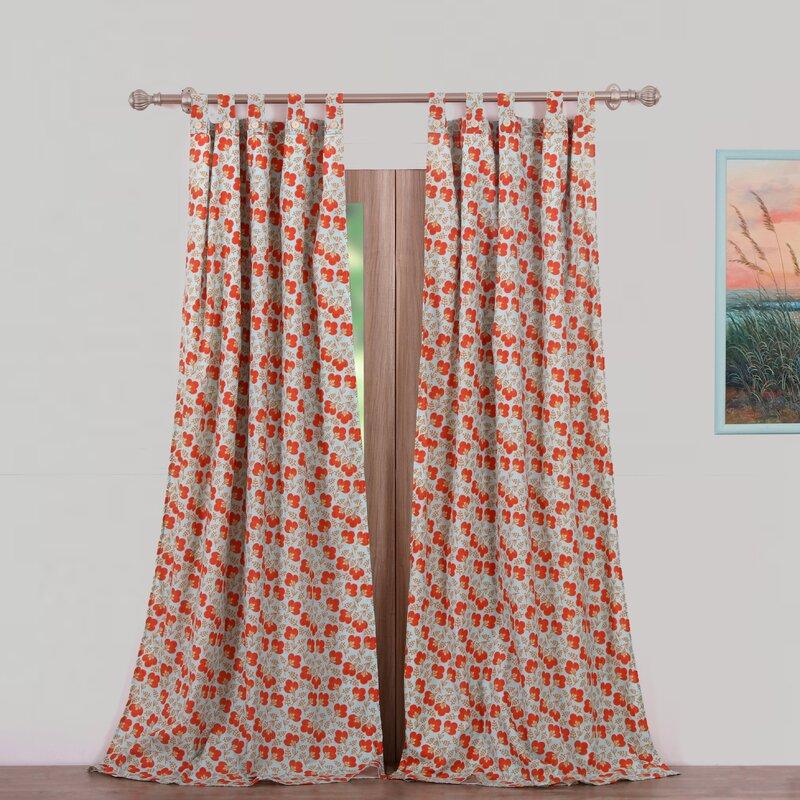 Terra Blossom Nature/Floral Sheer Tab Top Curtain Panels