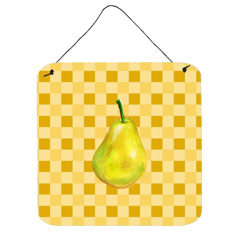 August Grove Whole Pear on Basketweave Wall Décor   Wayfair