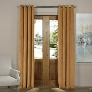 sharpe solid velvet blackout thermal grommet single curtain panel