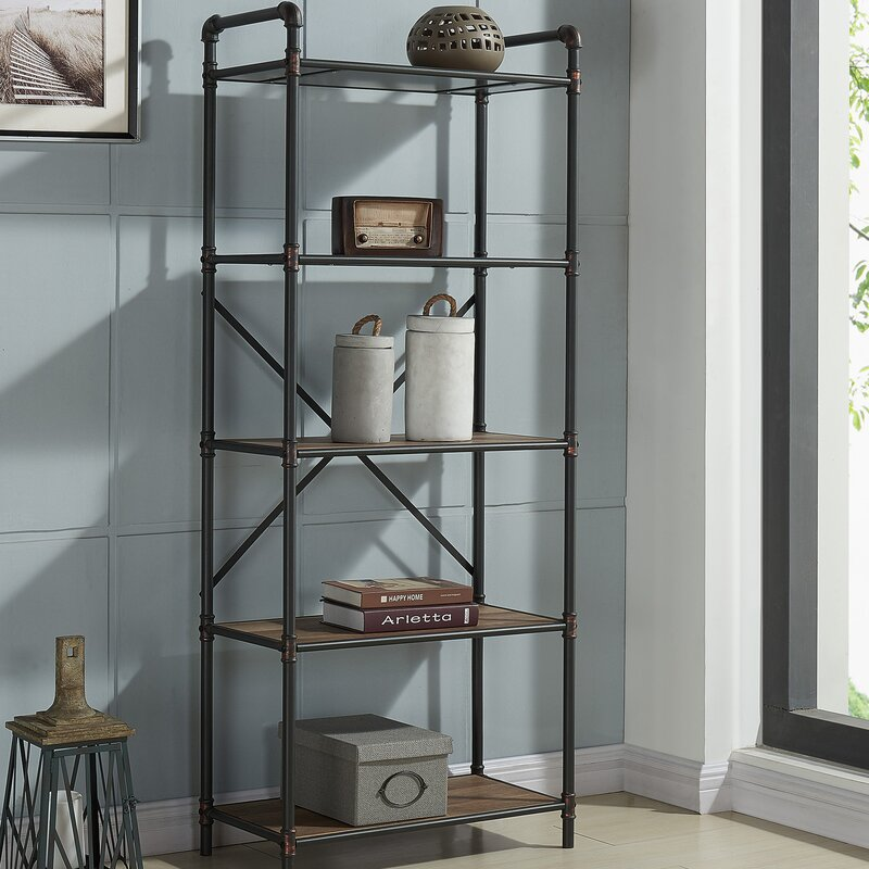 17 Stories 5 Tier Metal Pipe Etagere Bookcase & Reviews | Wayfair