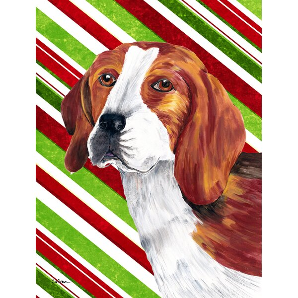 Bon Carolineu0027s Treasures Beagle Candy Cane Holiday Christmas 2 Sided Garden Flag  | Wayfair