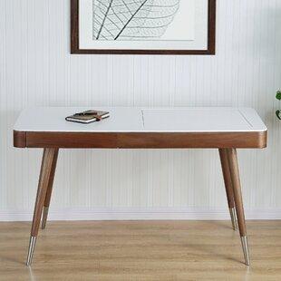 High Gloss Desk Veneer Solid Wood Legs Vanity Set With Mirror