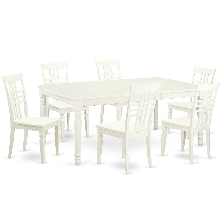 East West 7 Piece Dining Set In Linen White Wayfair
